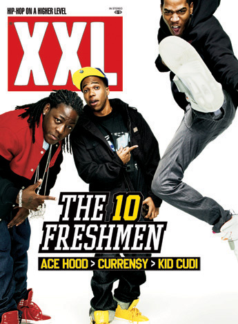 Xxl Magazine Freshman 2008 Ace Hood, Curren$y and Kid Cudi is on the front of one cover.